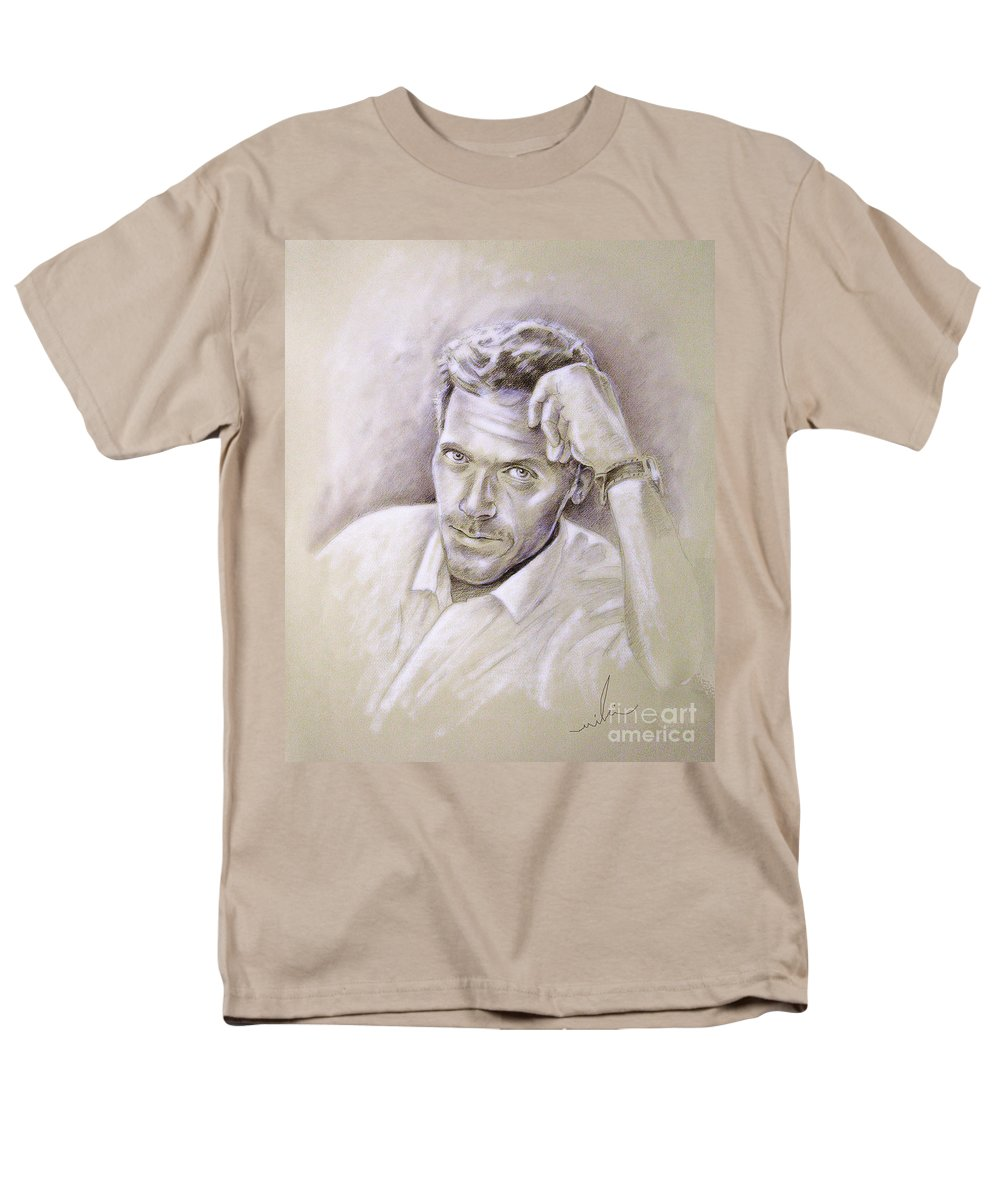 Portraits From Photographs Men's T-Shirt (Regular Fit) featuring the drawing Portrait of Hugh Laurie by Miki De Goodaboom