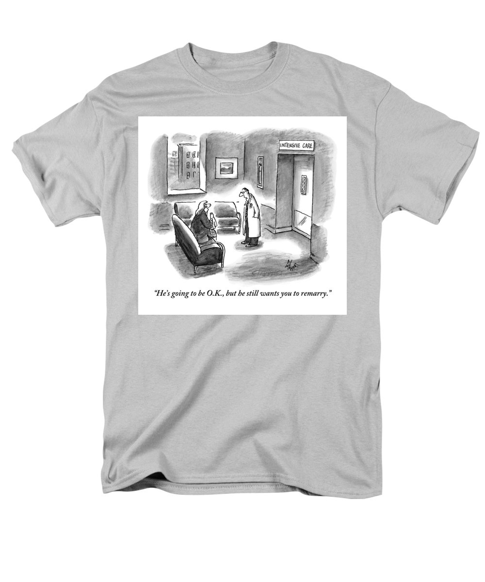 Hospitals Men's T-Shirt (Regular Fit) featuring the drawing A Doctor Is Seen Speaking With A Woman by Frank Cotham