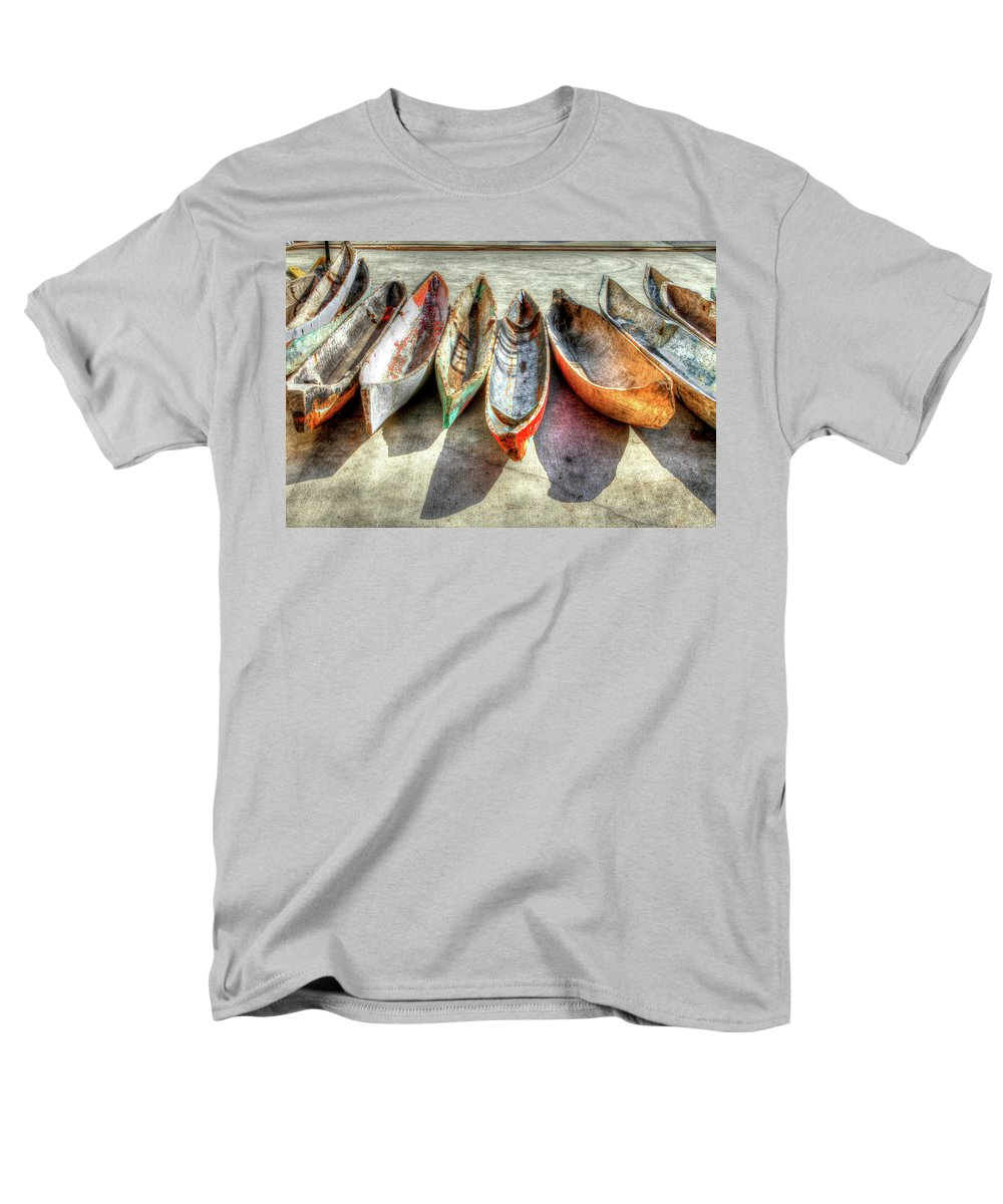 The Men's T-Shirt (Regular Fit) featuring the photograph Canoes by Debra and Dave Vanderlaan