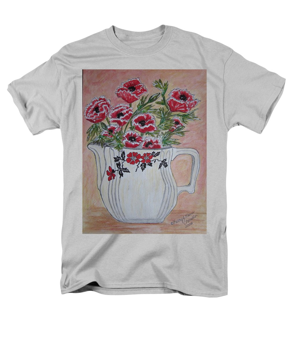 Hall China Men's T-Shirt (Regular Fit) featuring the painting Hall China Red Poppy and Poppies by Kathy Marrs Chandler