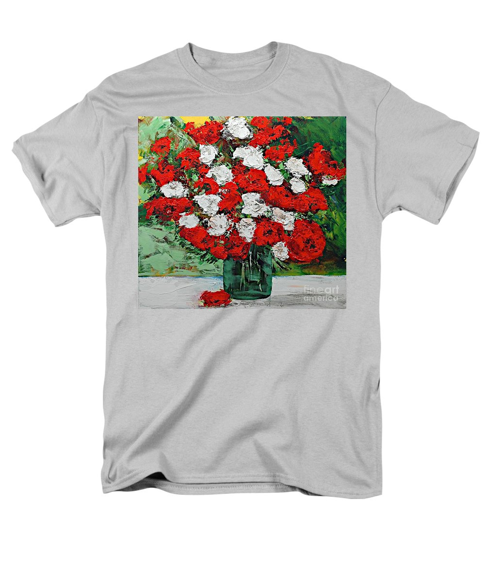 Landscape Men's T-Shirt (Regular Fit) featuring the painting Red Explosion by Allan P Friedlander