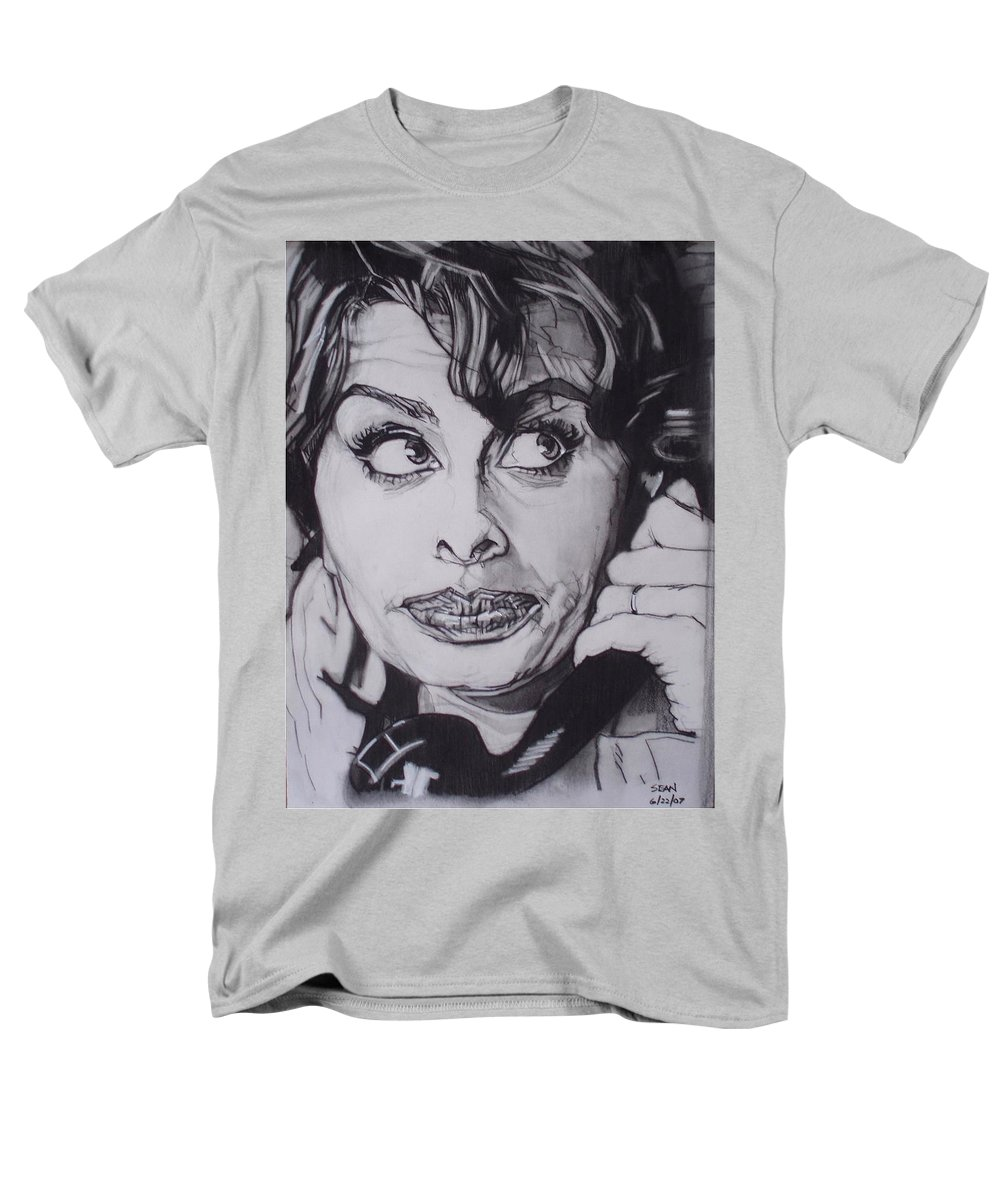 Charcoal;icon;actress;diva;italian;cat Eyes;beautiful;cute;adorable Men's T-Shirt (Regular Fit) featuring the drawing Sophia Loren Telephones by Sean Connolly