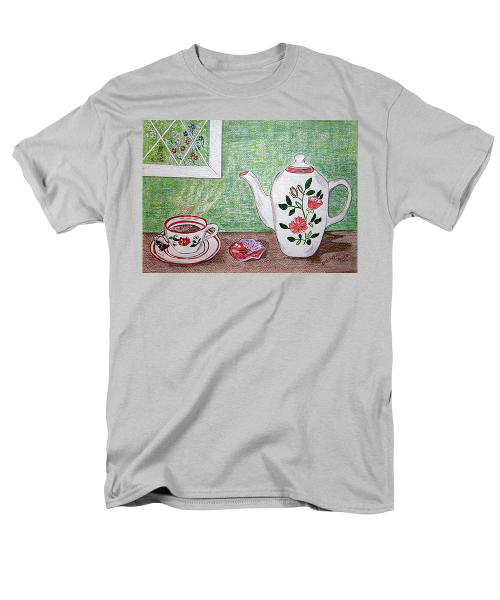 Stangl Pottery Men's T-Shirt (Regular Fit) featuring the painting Stangl Pottery Rose Pattern by Kathy Marrs Chandler