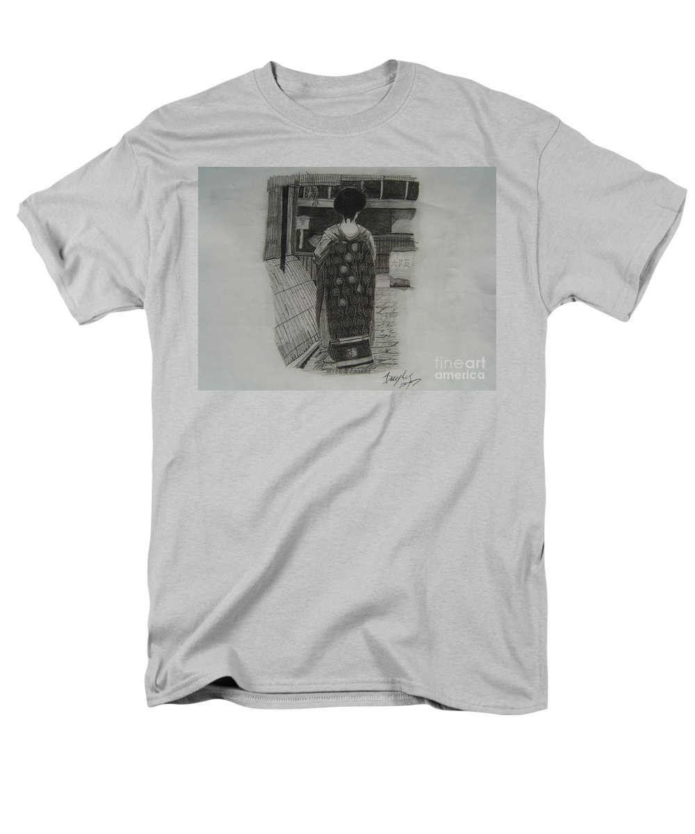 Geisha Men's T-Shirt (Regular Fit) featuring the drawing The Geisha by Anthony Dunphy