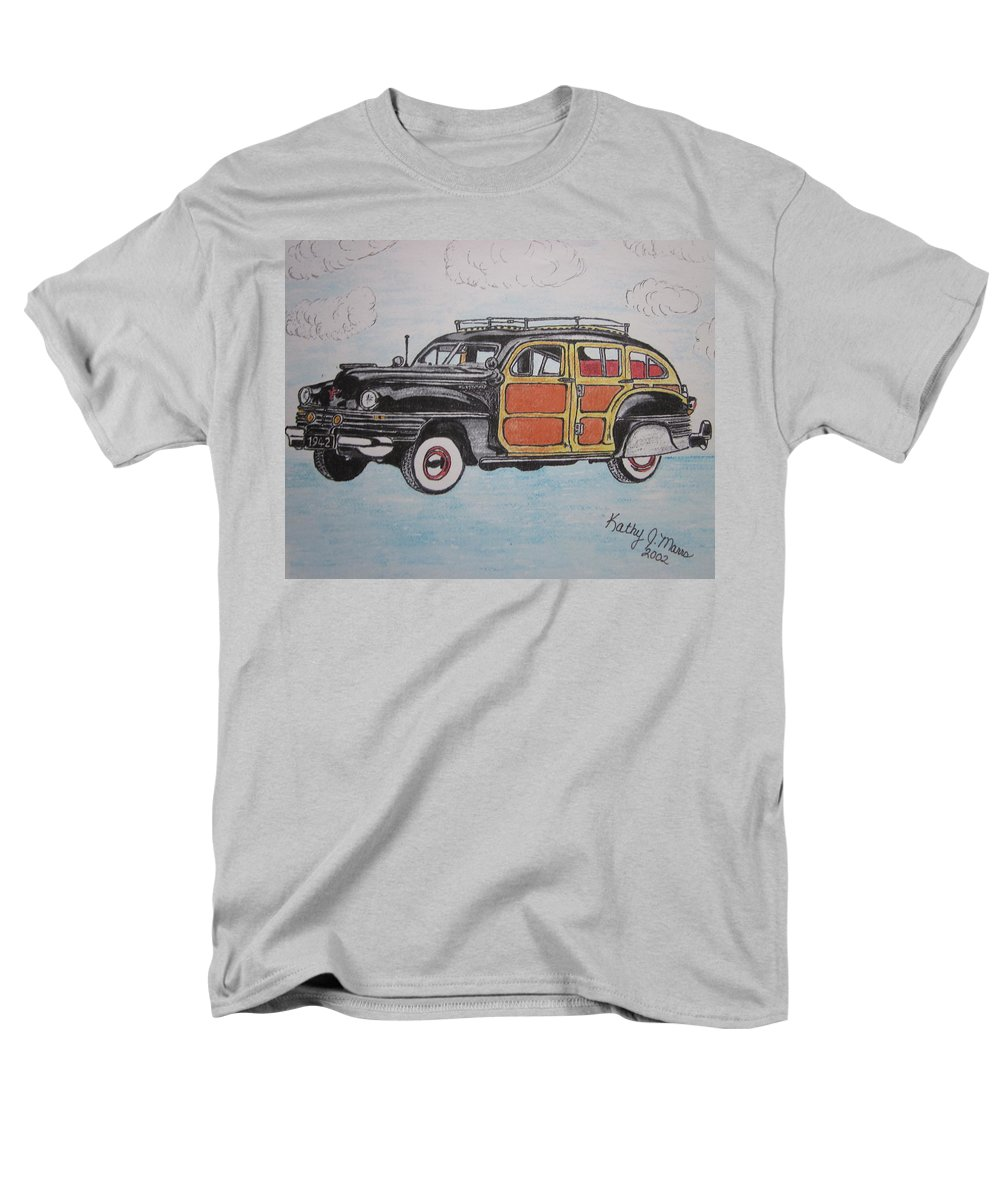 Woodie Men's T-Shirt (Regular Fit) featuring the painting Woodie Station Wagon by Kathy Marrs Chandler