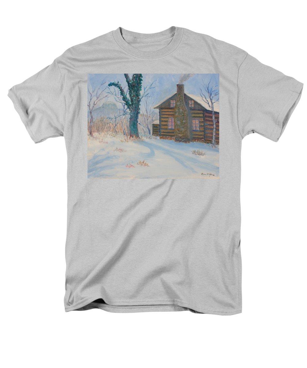 Pilot Mountain Men's T-Shirt (Regular Fit) featuring the painting Pilot Mountain Lodge by Ben Kiger