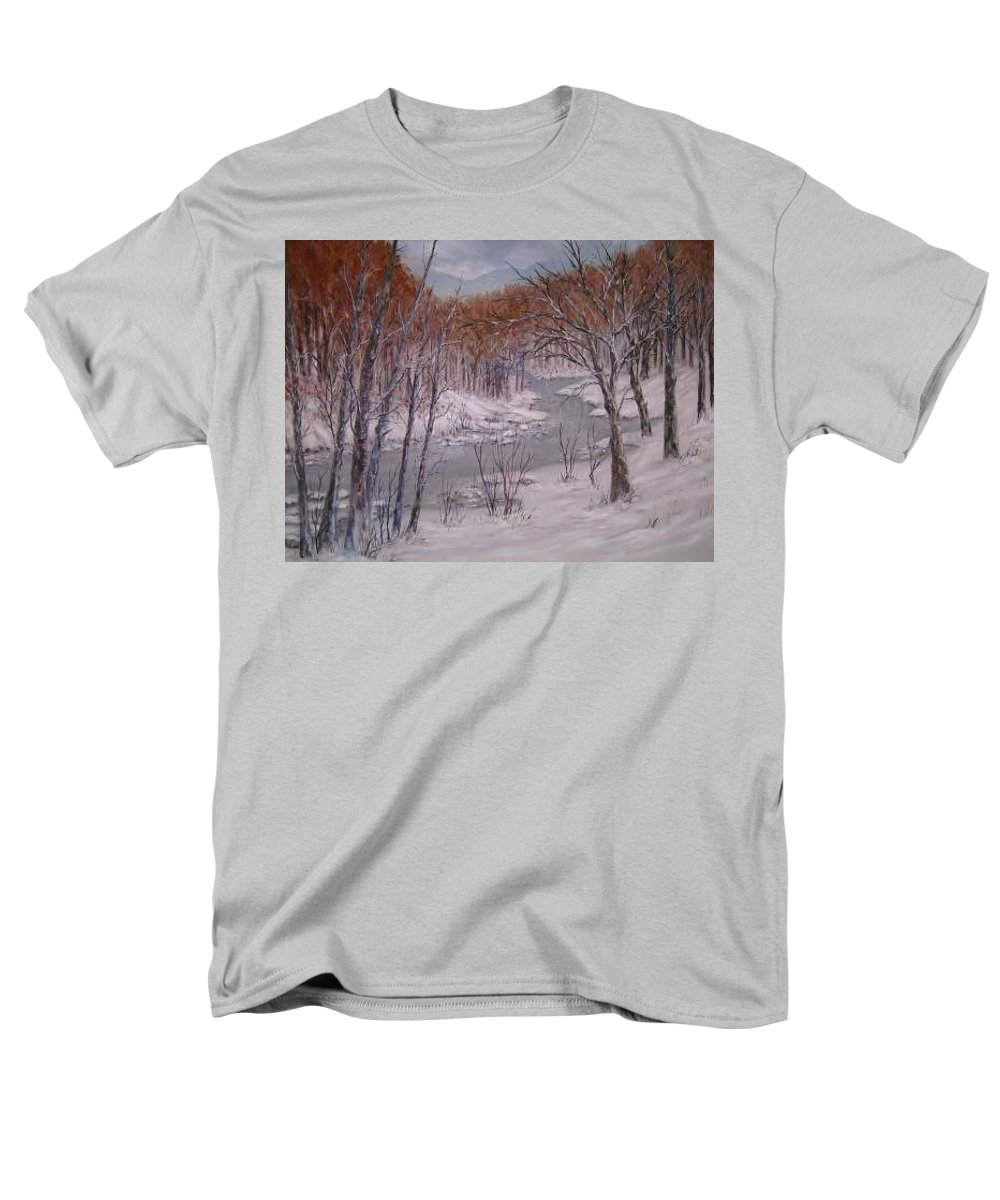 Snow; Landscape Men's T-Shirt (Regular Fit) featuring the painting Peace And Quiet by Ben Kiger