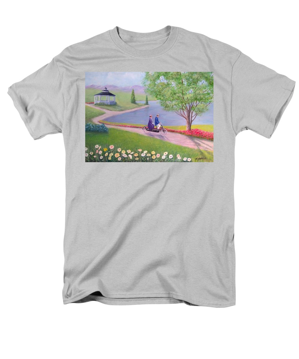Landscape Men's T-Shirt (Regular Fit) featuring the painting A Ride In The Park by William H RaVell III