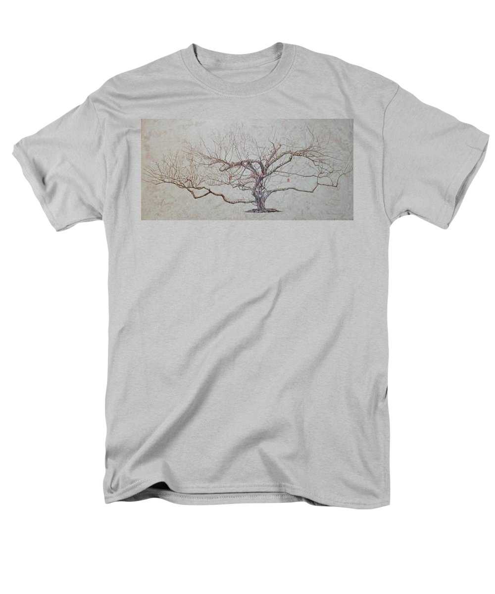 Apple Tree Men's T-Shirt (Regular Fit) featuring the painting Apple Tree In Winter by Leah Tomaino