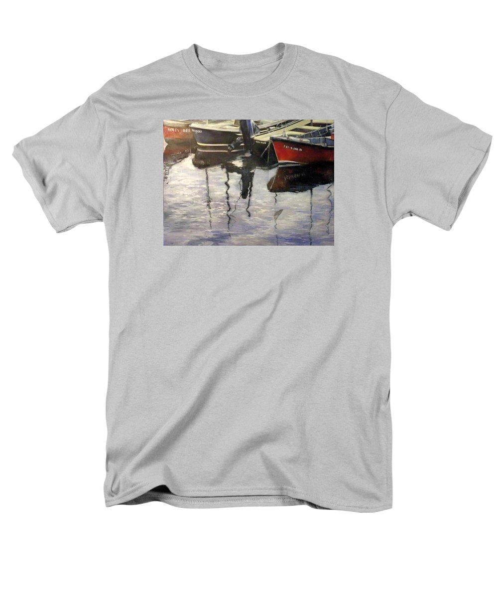Arte Men's T-Shirt (Regular Fit) featuring the painting Barcas en puertochico-Santander by Tomas Castano