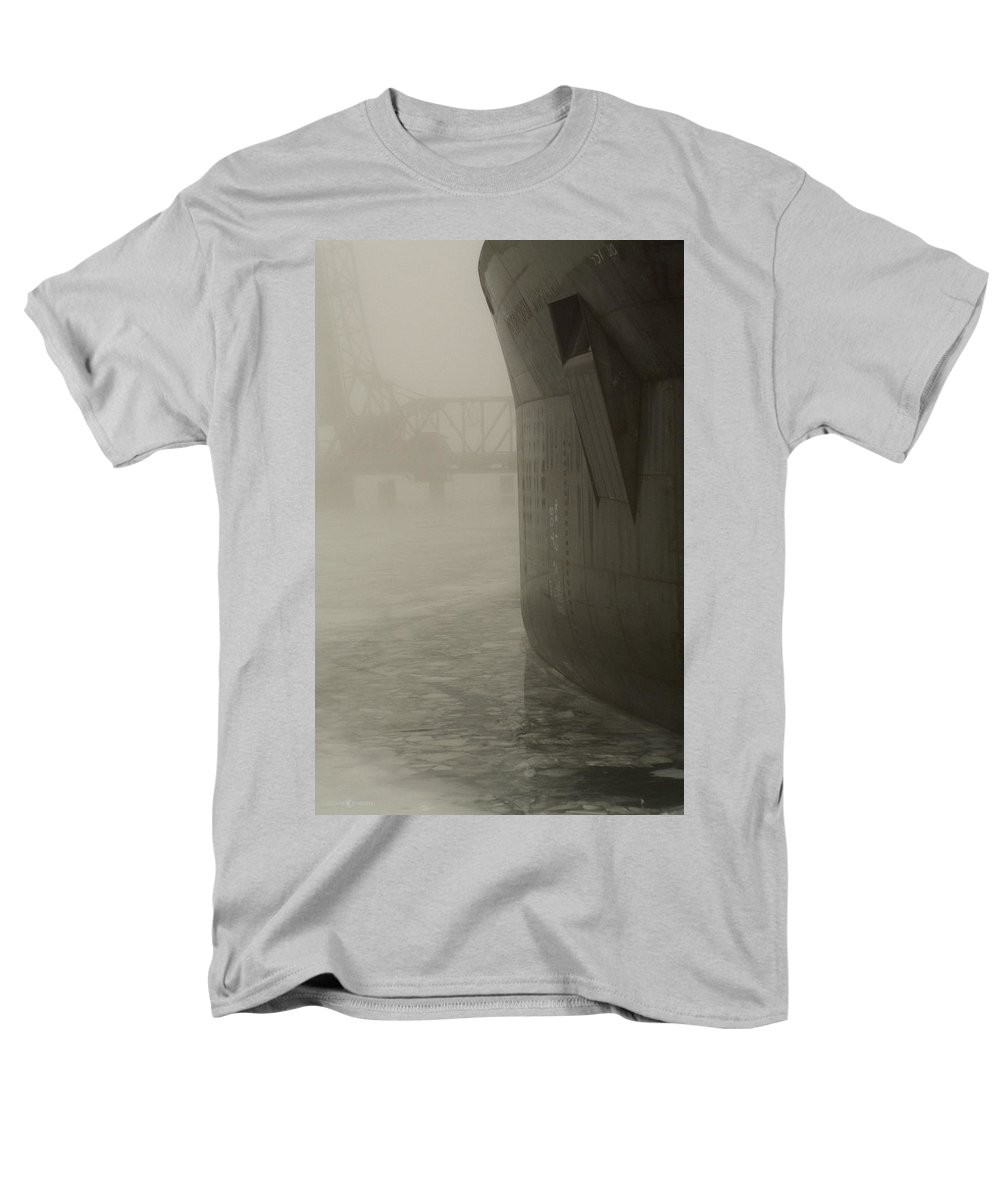 Water Men's T-Shirt (Regular Fit) featuring the photograph Bridge and Barge by Tim Nyberg