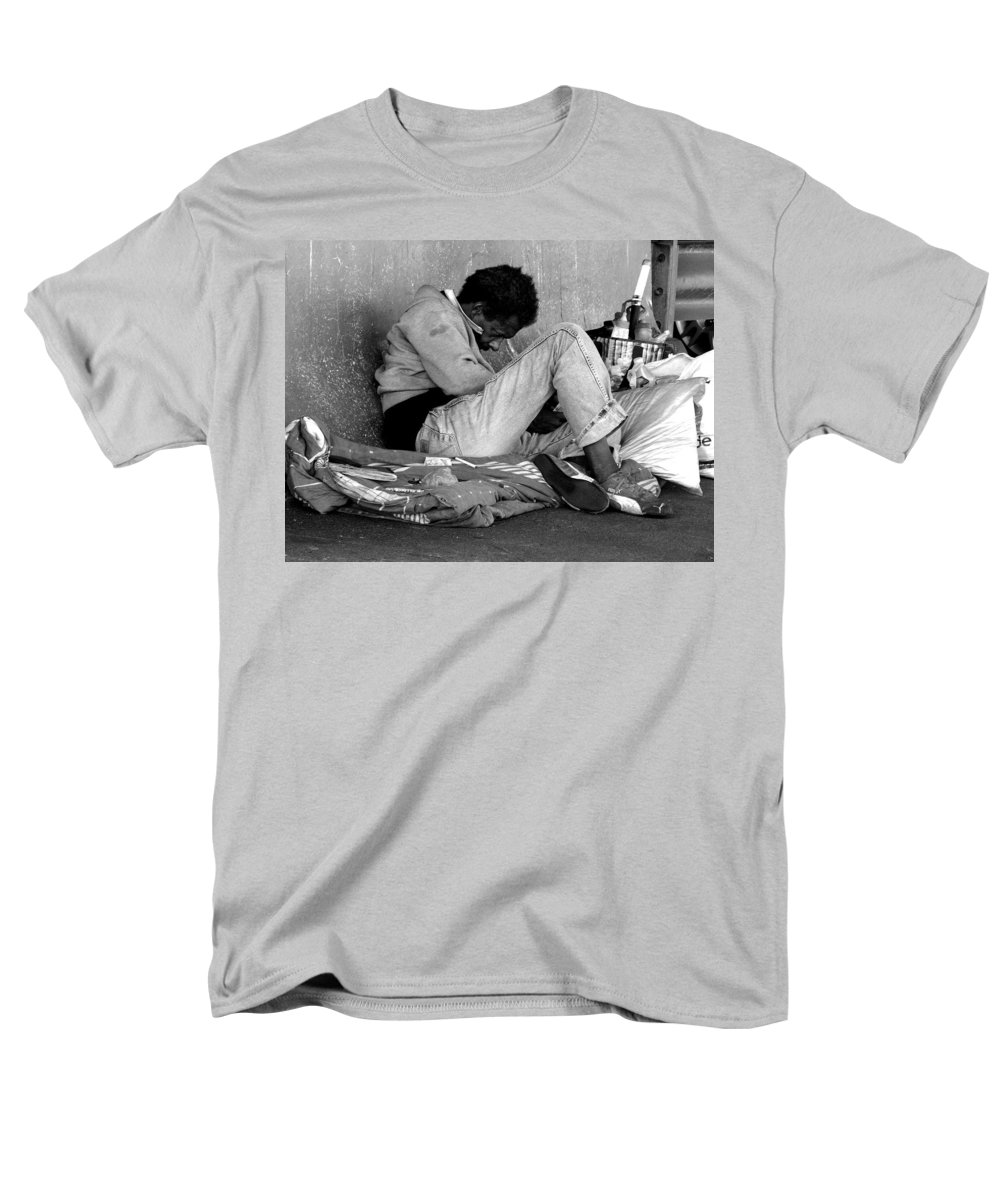 Homeless Men's T-Shirt (Regular Fit) featuring the photograph Brother Can You Spare A Dime by Kendall Eutemey
