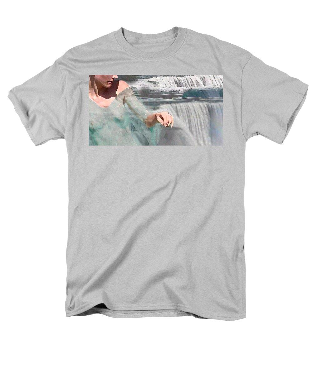 Waterscape Men's T-Shirt (Regular Fit) featuring the digital art Cascade by Steve Karol