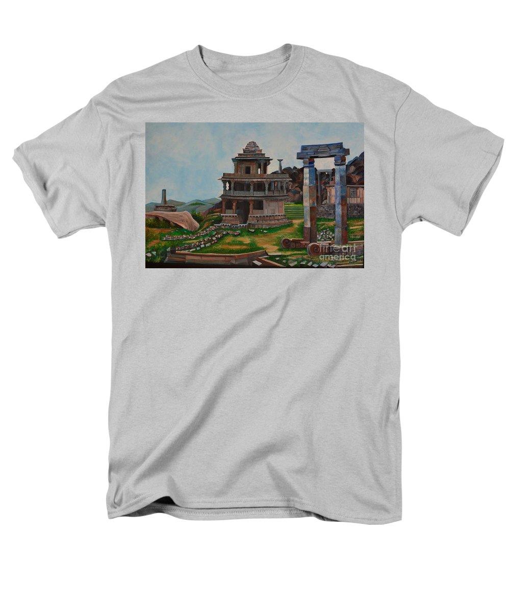 Landscape Men's T-Shirt (Regular Fit) featuring the painting Cithradurga Fort by Usha Rai