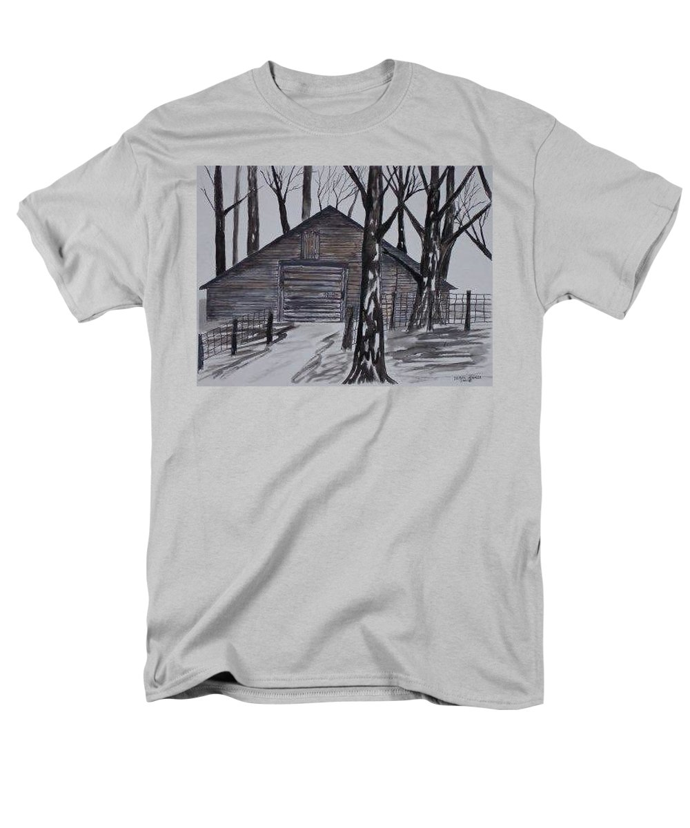 Watercolor Landscape Painting Barn Pen And Ink Drawing Print Original Men's T-Shirt (Regular Fit) featuring the painting COUNTRY BARN pen and ink drawing print by Derek Mccrea