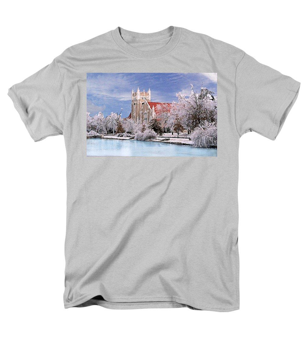 Winter Men's T-Shirt (Regular Fit) featuring the photograph Country Club Christian Church by Steve Karol