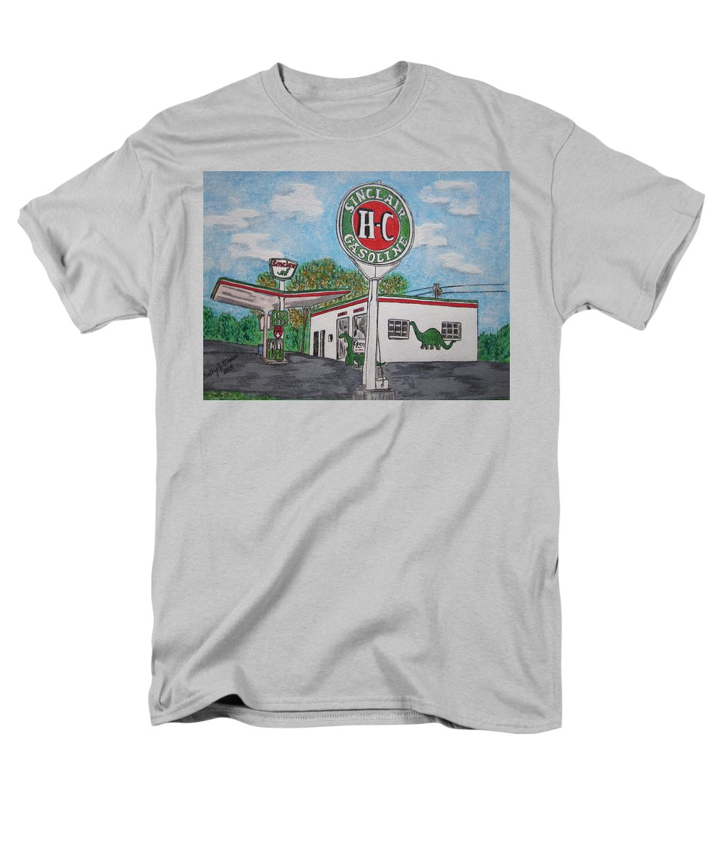 Dino Men's T-Shirt (Regular Fit) featuring the painting Dino Sinclair Gas Station by Kathy Marrs Chandler