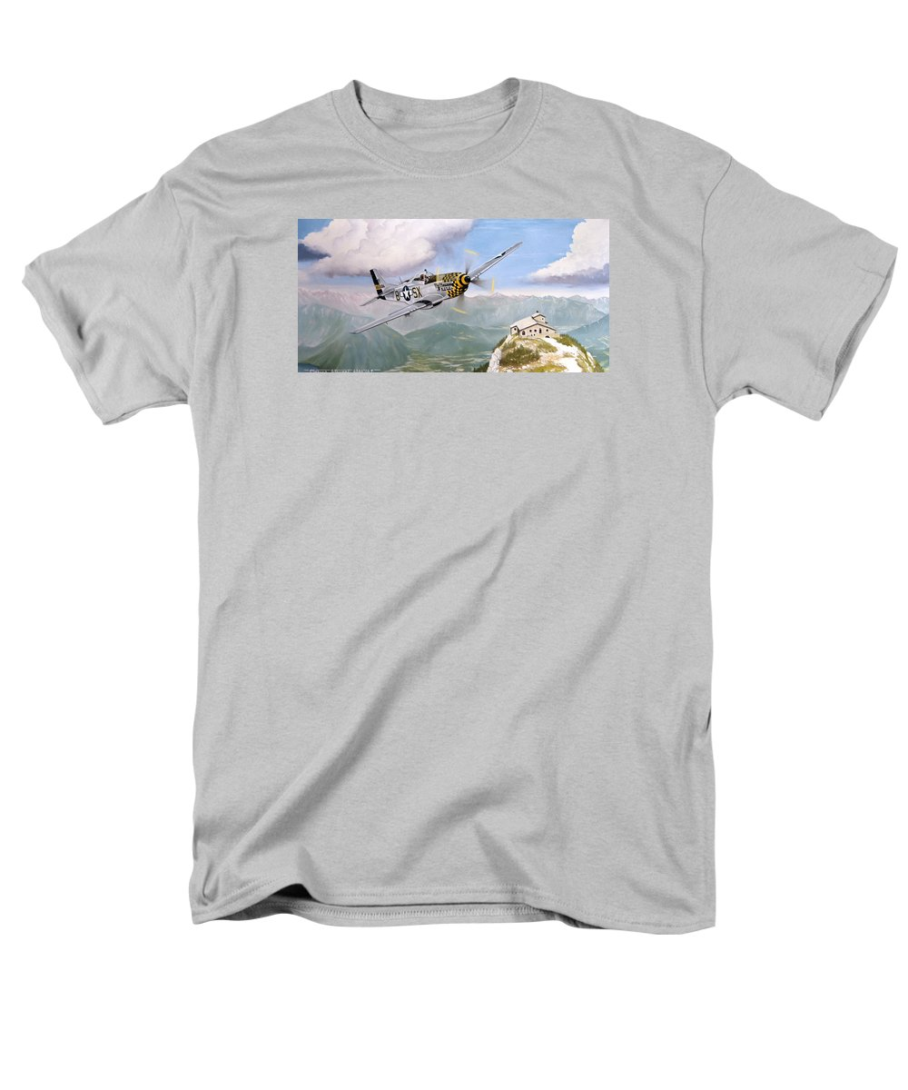 Military Men's T-Shirt (Regular Fit) featuring the painting Double Trouble Over The Eagle by Marc Stewart