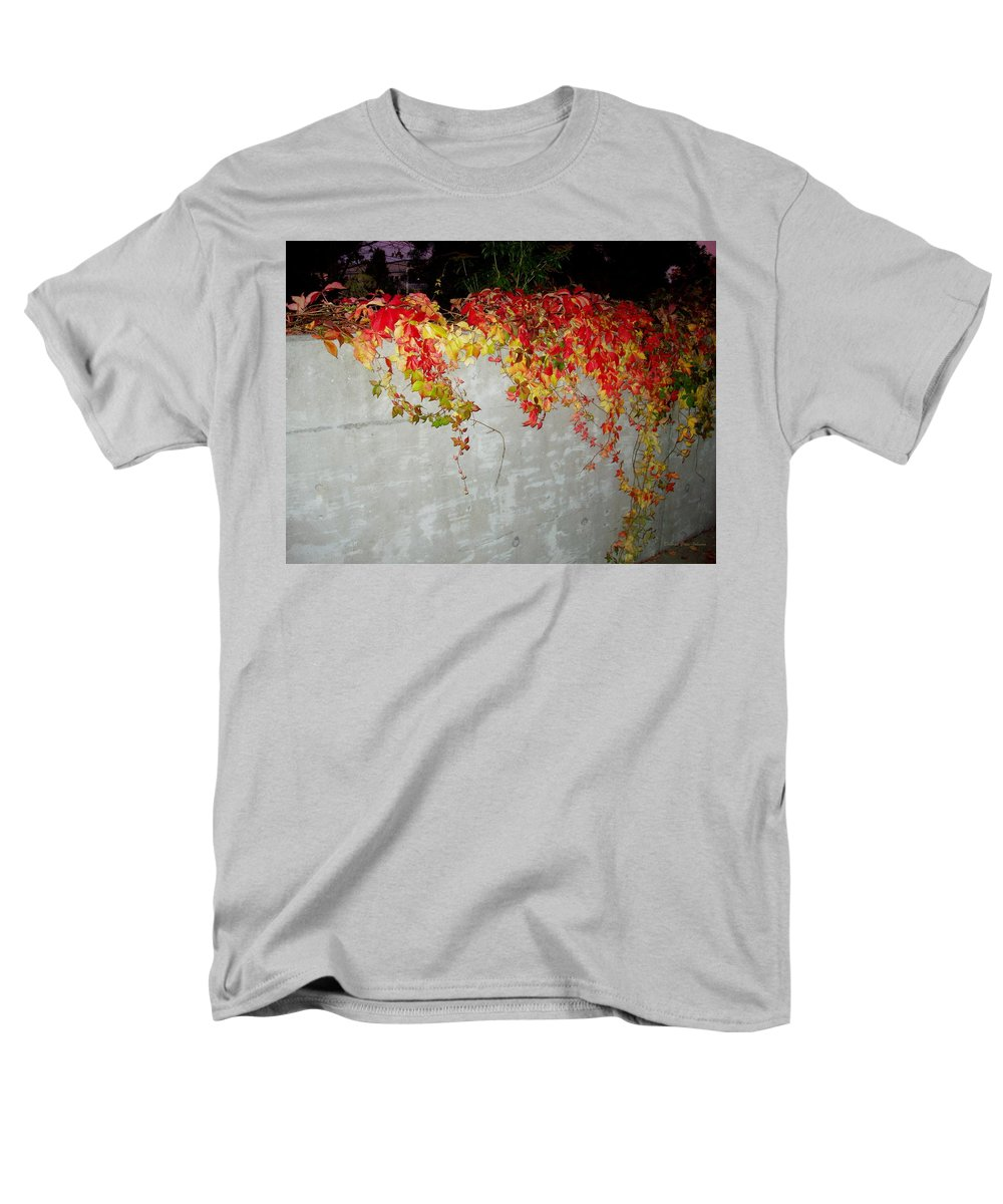 Fall Men's T-Shirt (Regular Fit) featuring the photograph Fall on the Wall by Deborah Crew-Johnson