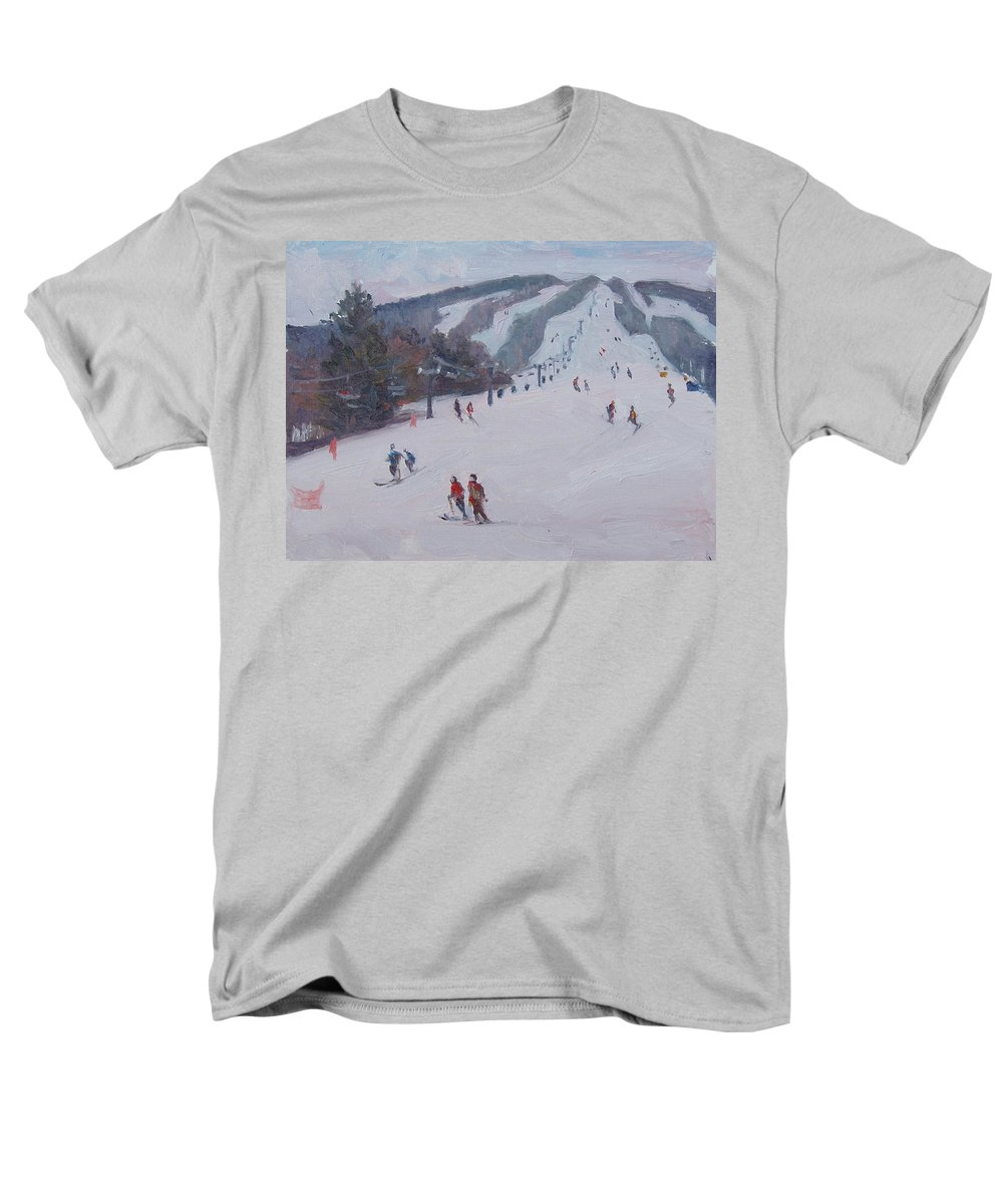 Landscape Men's T-Shirt (Regular Fit) featuring the painting Family Ski by Dianne Panarelli Miller