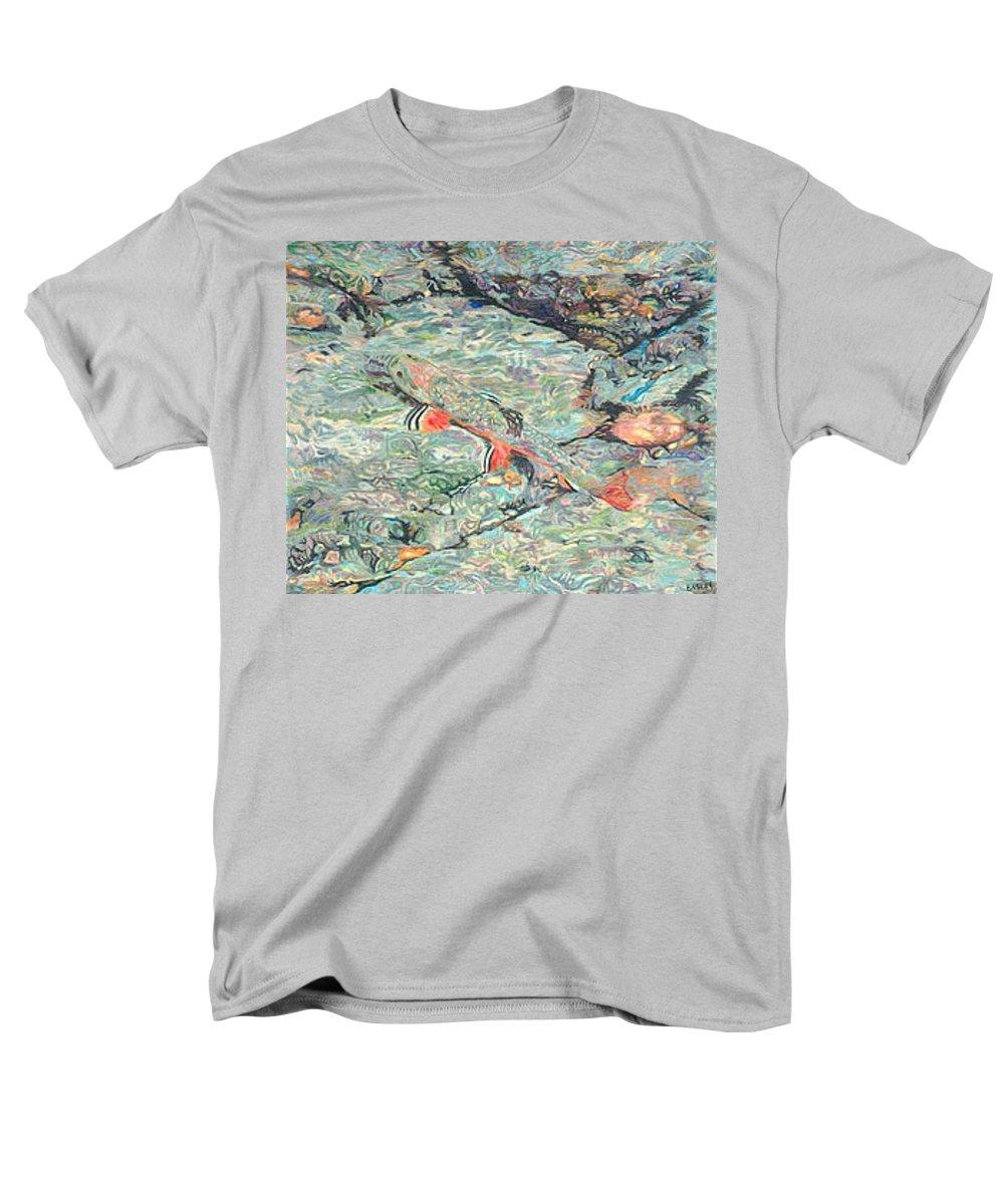 Art Men's T-Shirt (Regular Fit) featuring the drawing Fish Art Trout Art Brook Trout Brookie Artwork Nature Underwater Wildlife Creek Art River Art Lake by Patti Baslee