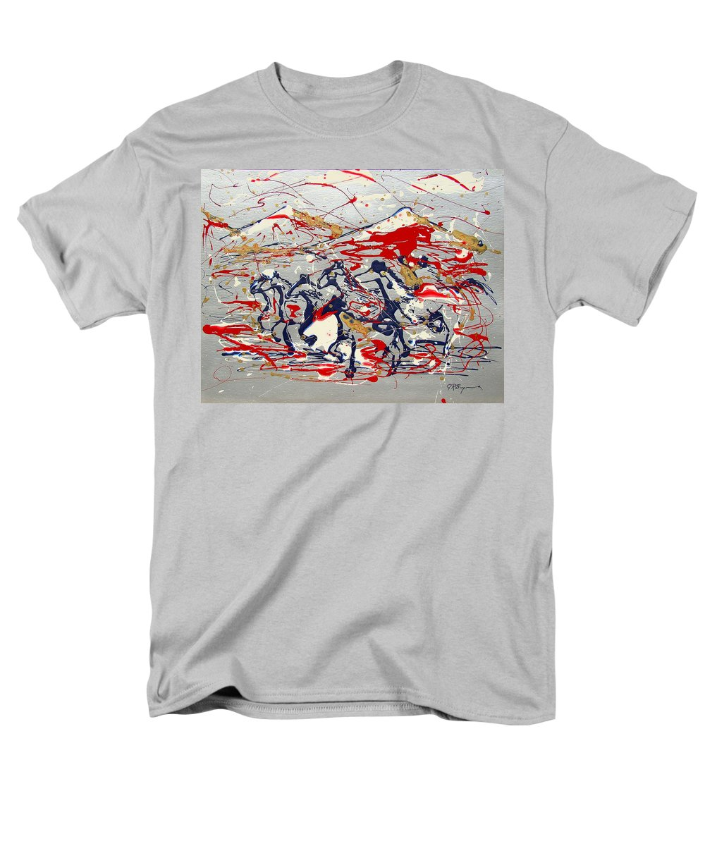 Wild Horses Men's T-Shirt (Regular Fit) featuring the painting Freedom On The Open Range by J R Seymour