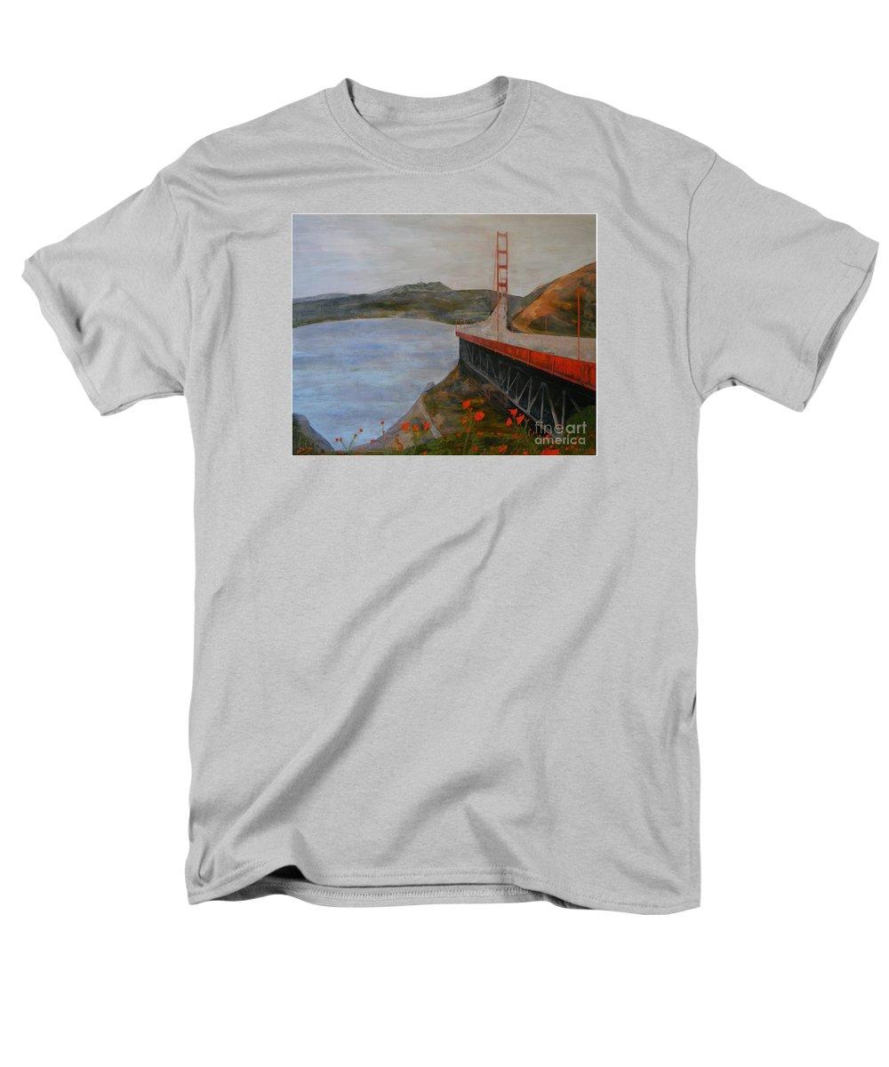 Golden Gate Bridge Men's T-Shirt (Regular Fit) featuring the painting Golden Gate Bridge by Ellen Beauregard