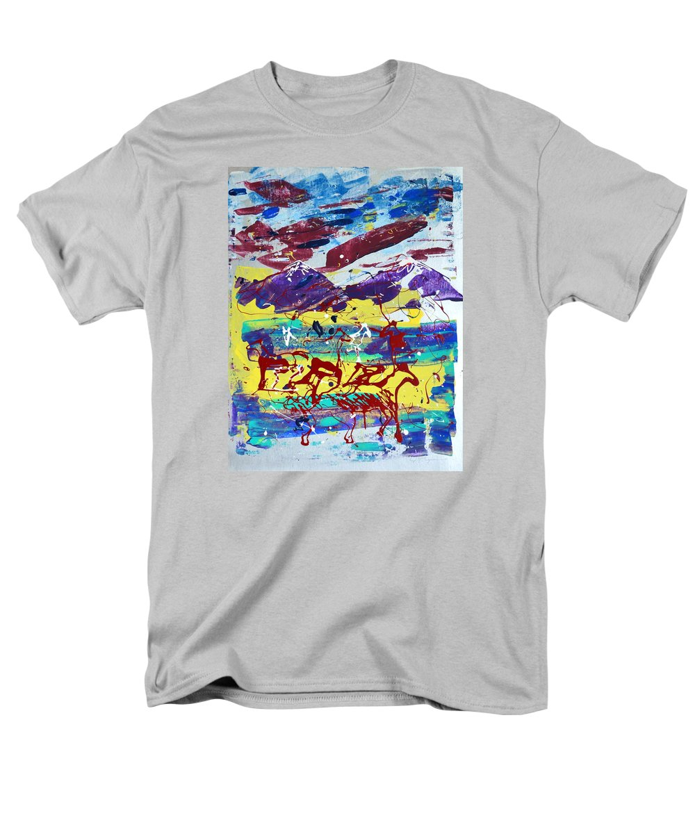 Horses Grazing Men's T-Shirt (Regular Fit) featuring the painting Green Pastures And Purple Mountains by J R Seymour