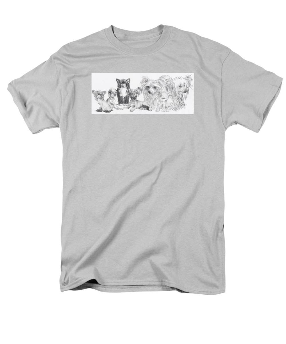 Dog Men's T-Shirt (Regular Fit) featuring the drawing Growing Up Chinese Crested And Powderpuff by Barbara Keith