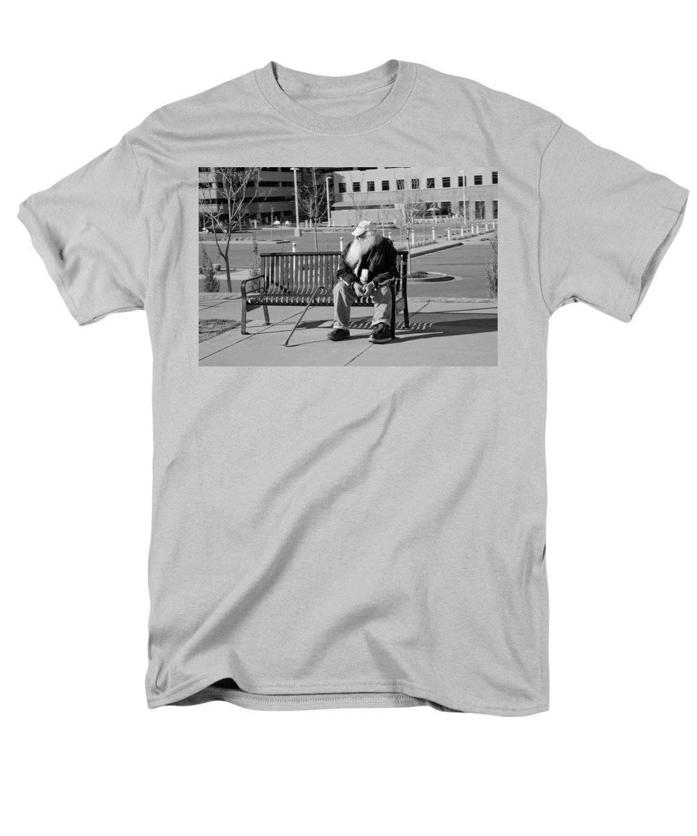 Portrait Men's T-Shirt (Regular Fit) featuring the photograph Homeless Man by Angus Hooper Iii