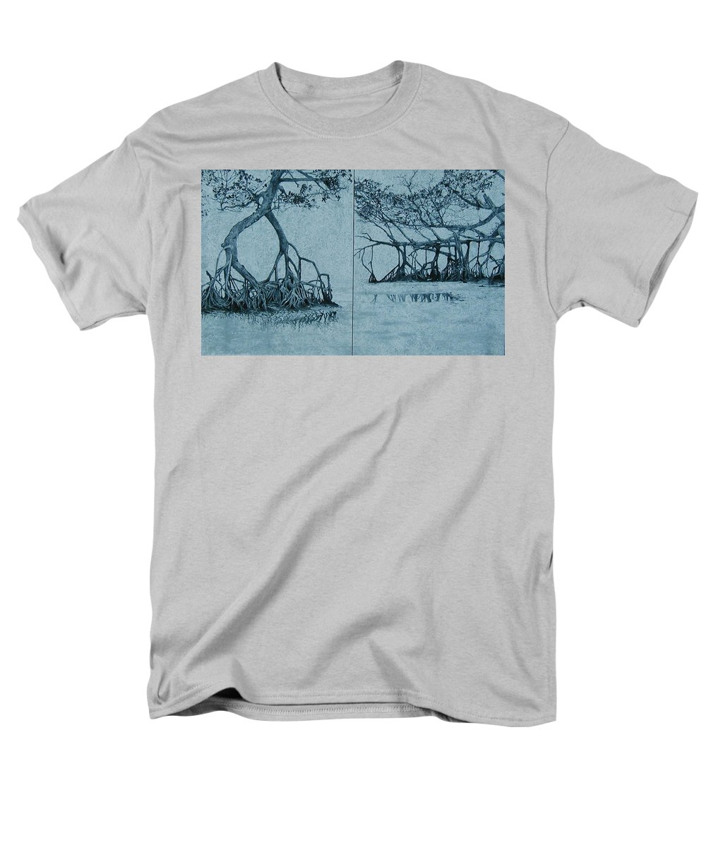 Blue Men's T-Shirt (Regular Fit) featuring the painting Mangroves by Leah Tomaino