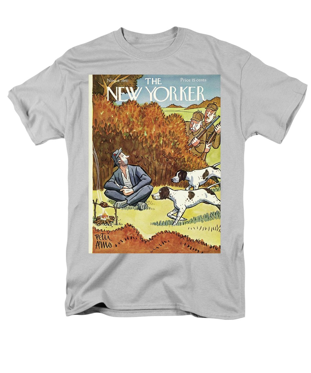 Hunters Men's T-Shirt (Regular Fit) featuring the painting New Yorker November 8 1941 by Peter Arno