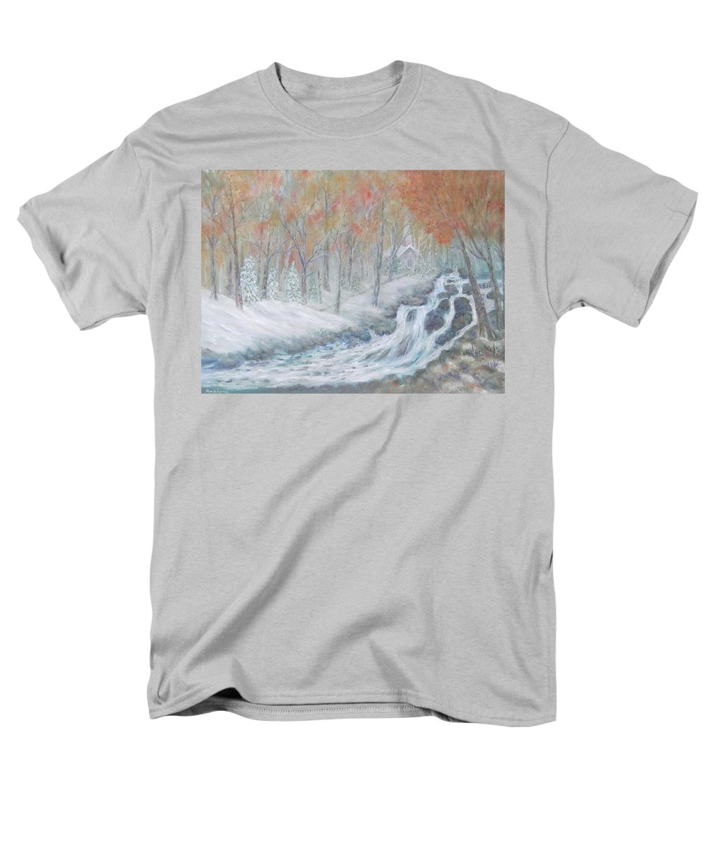 Snow; Landscape; Church Men's T-Shirt (Regular Fit) featuring the painting Reverence by Ben Kiger