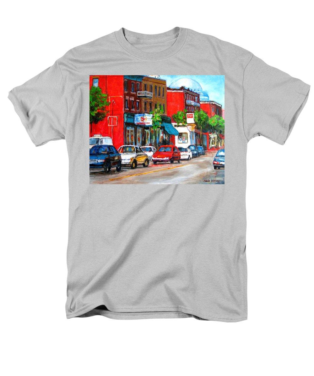 St.viateur Bagel Men's T-Shirt (Regular Fit) featuring the painting Saint Viateur Street by Carole Spandau