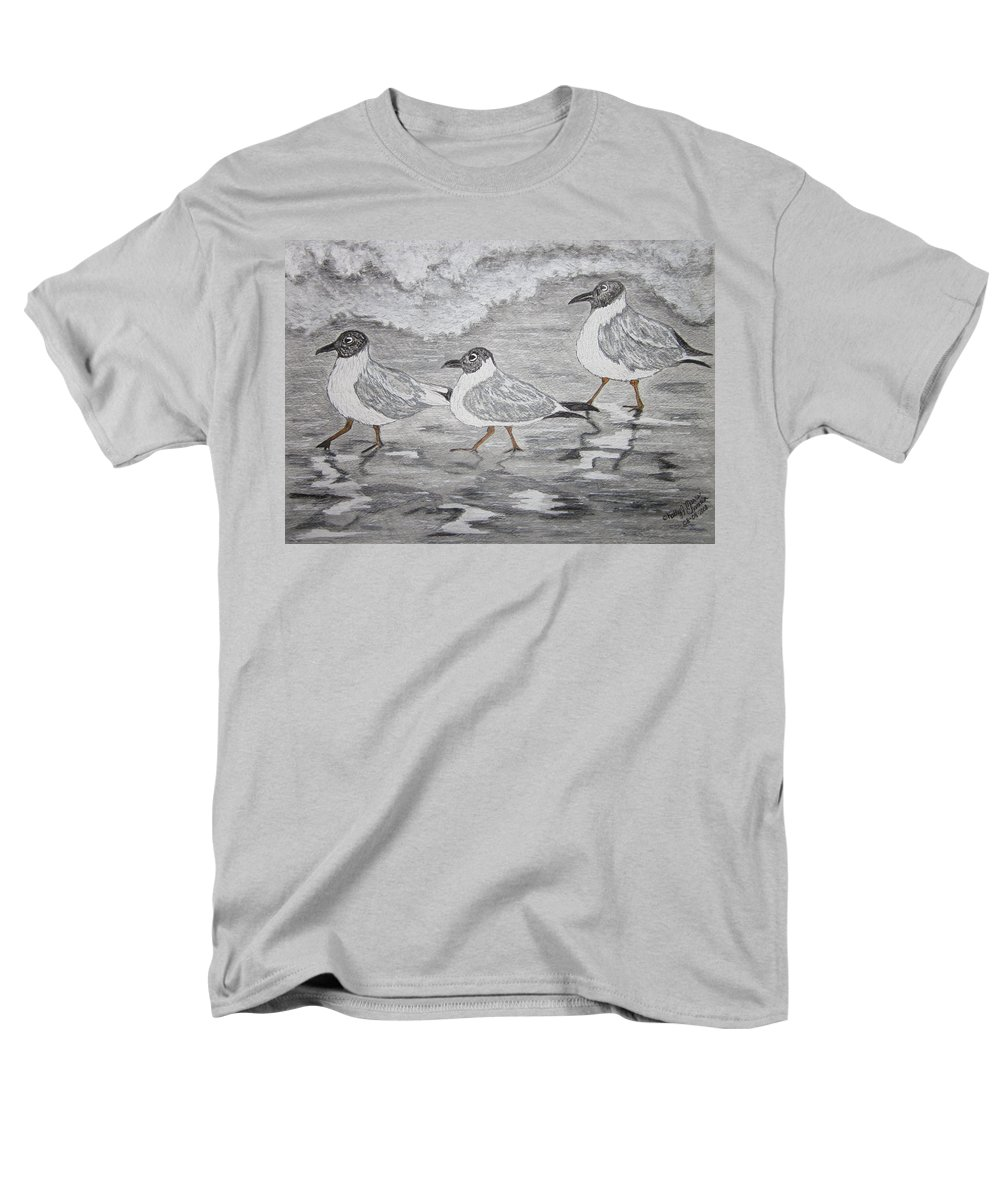 Sea Gulls Men's T-Shirt (Regular Fit) featuring the painting Sea Gulls Dodging the Ocean Waves by Kathy Marrs Chandler