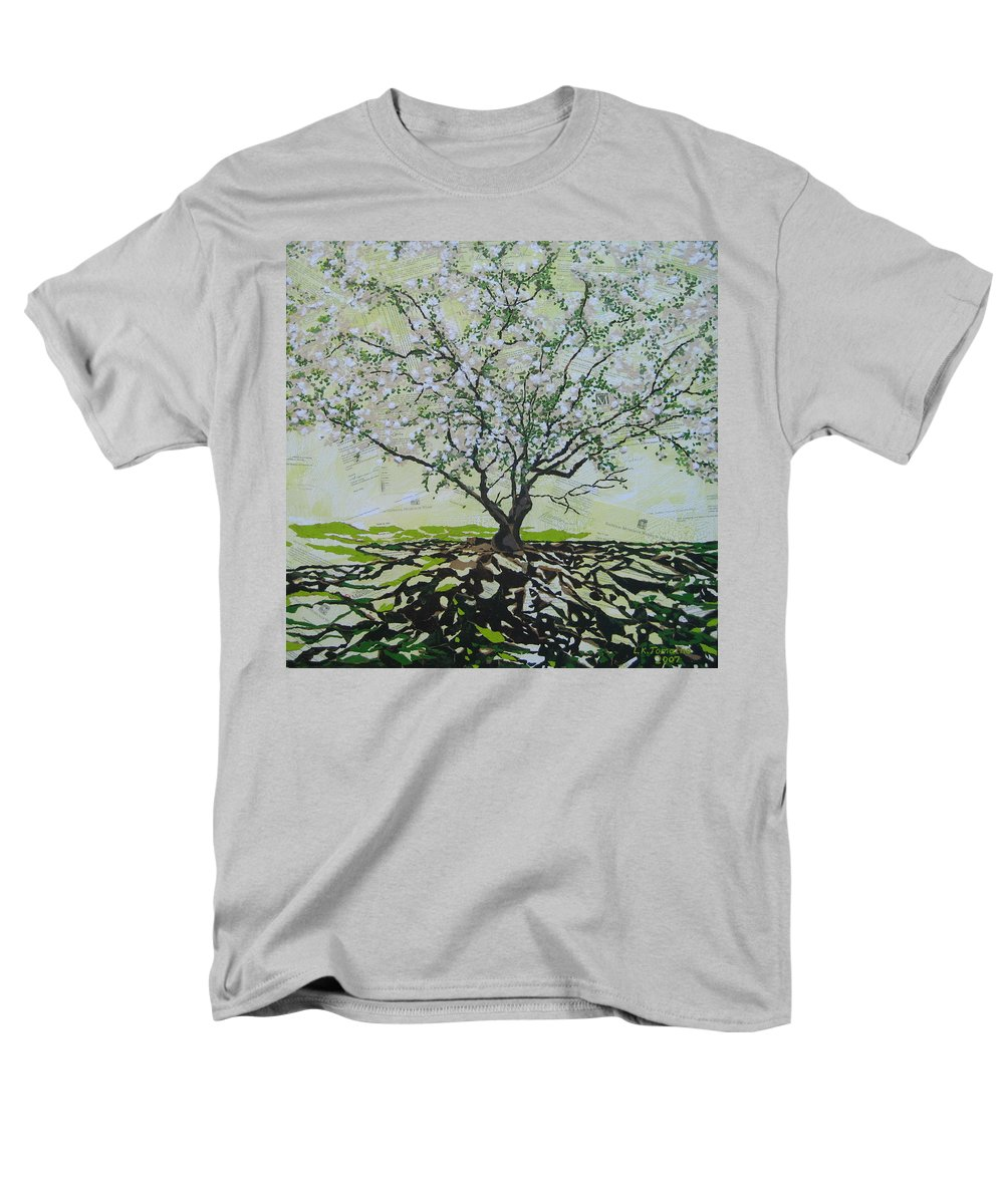 Apple Tree Men's T-Shirt (Regular Fit) featuring the painting Sincerely-The Curator by Leah Tomaino