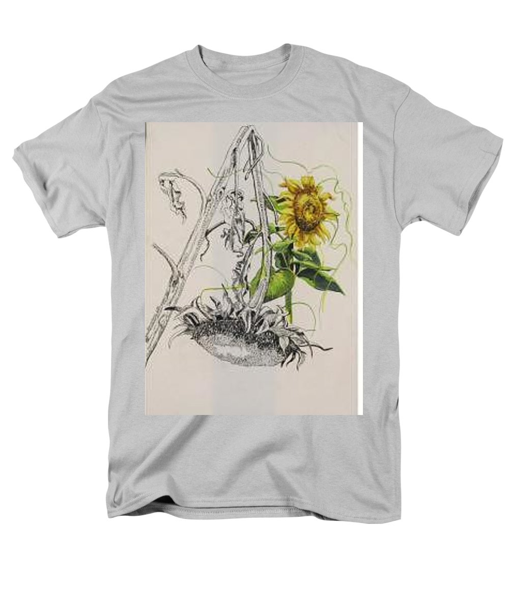Large Sunflowers Featured Men's T-Shirt (Regular Fit) featuring the painting Sunflowers by Wanda Dansereau