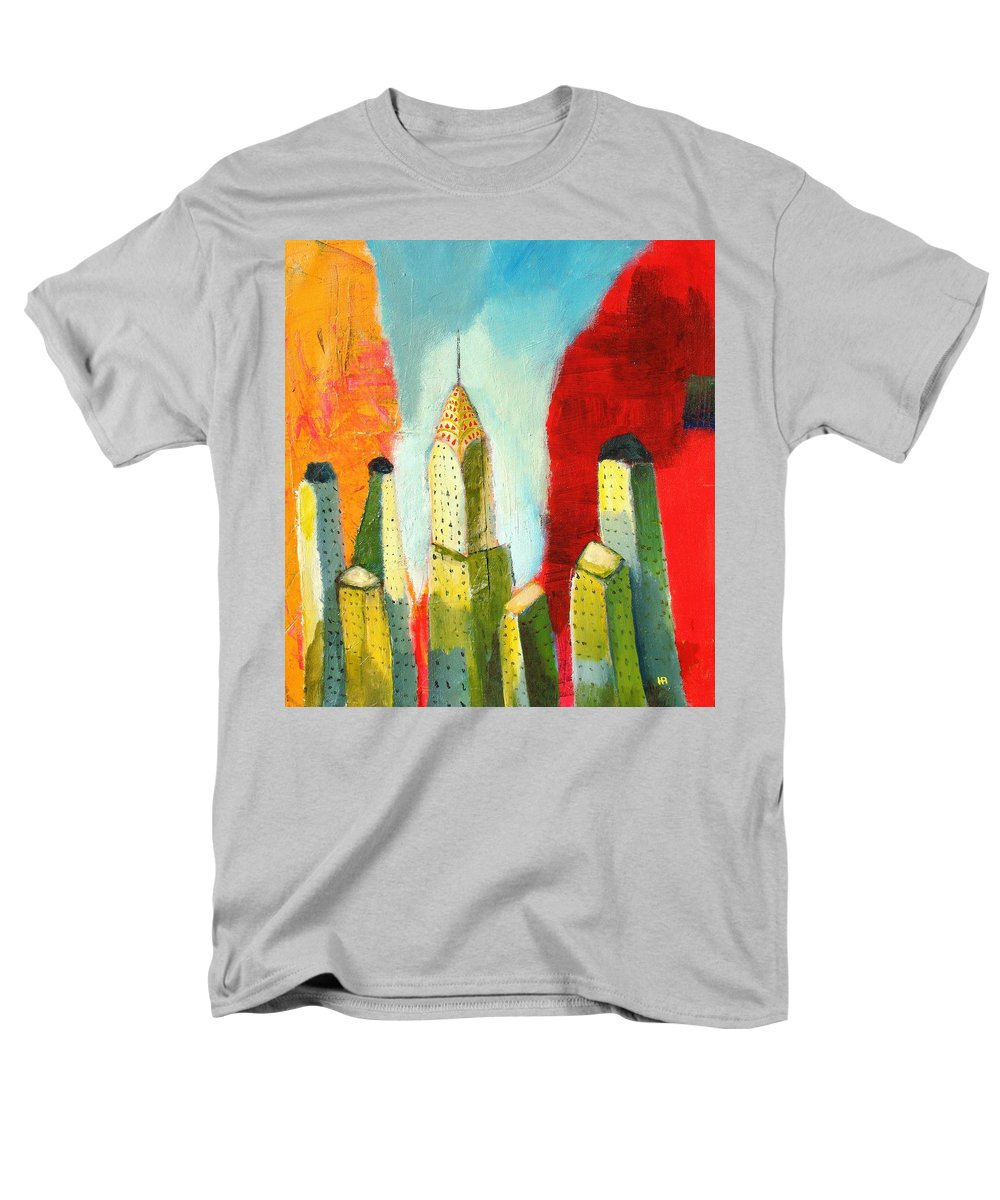 Abstract Cityscape Men's T-Shirt (Regular Fit) featuring the painting The Chrysler In Colors by Habib Ayat