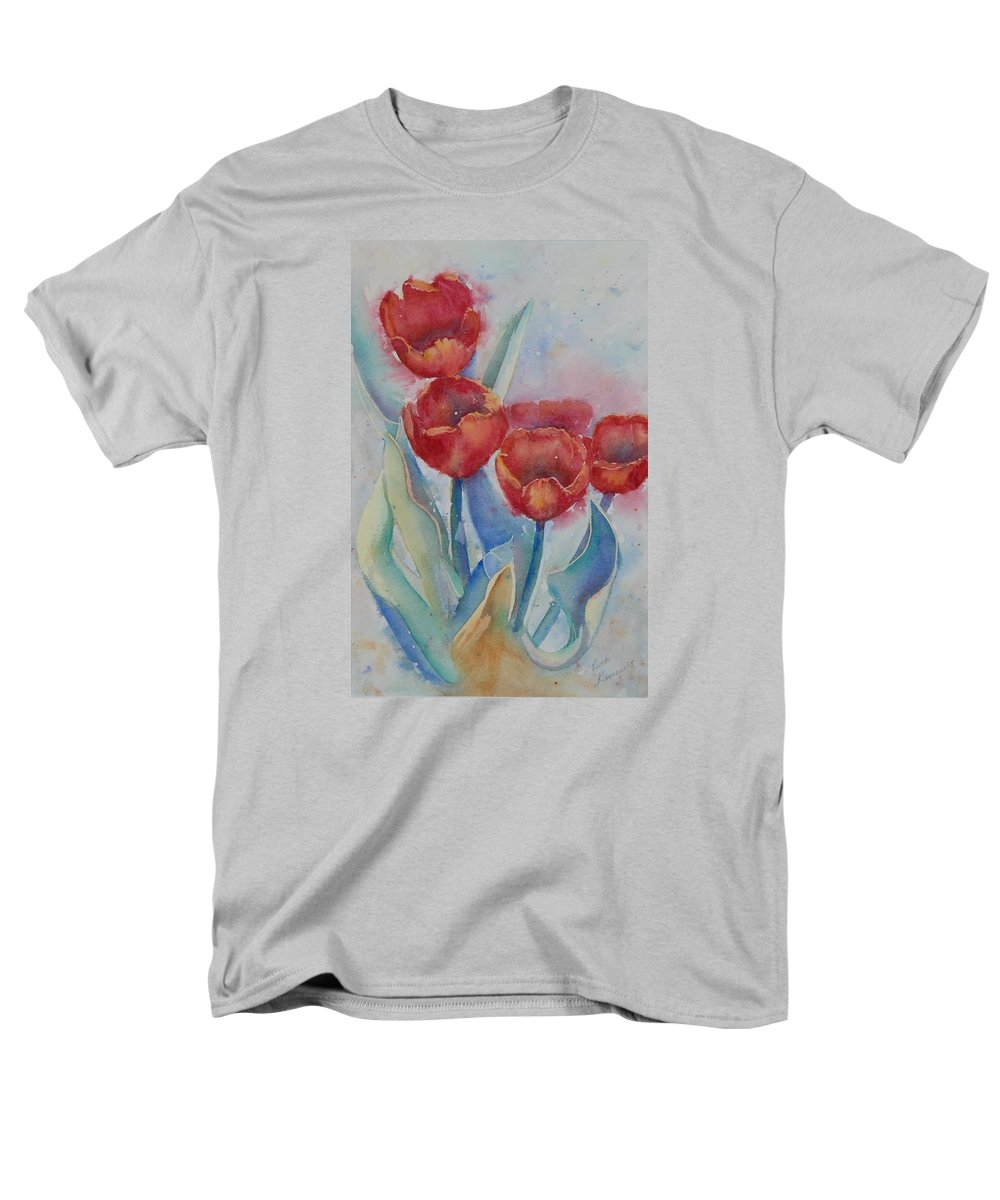 Flowers Men's T-Shirt (Regular Fit) featuring the painting Undersea Tulips by Ruth Kamenev