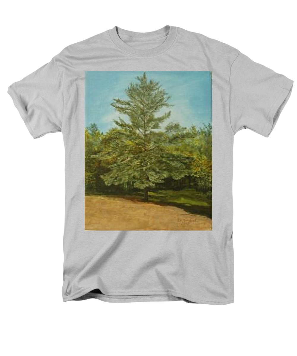 Pine Tree Men's T-Shirt (Regular Fit) featuring the painting White Lake by Leah Tomaino