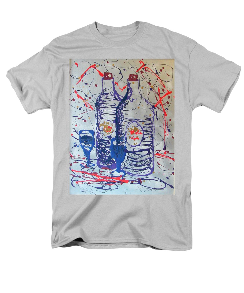 Wine Glass And Bottles Men's T-Shirt (Regular Fit) featuring the painting Wine Jugs by J R Seymour