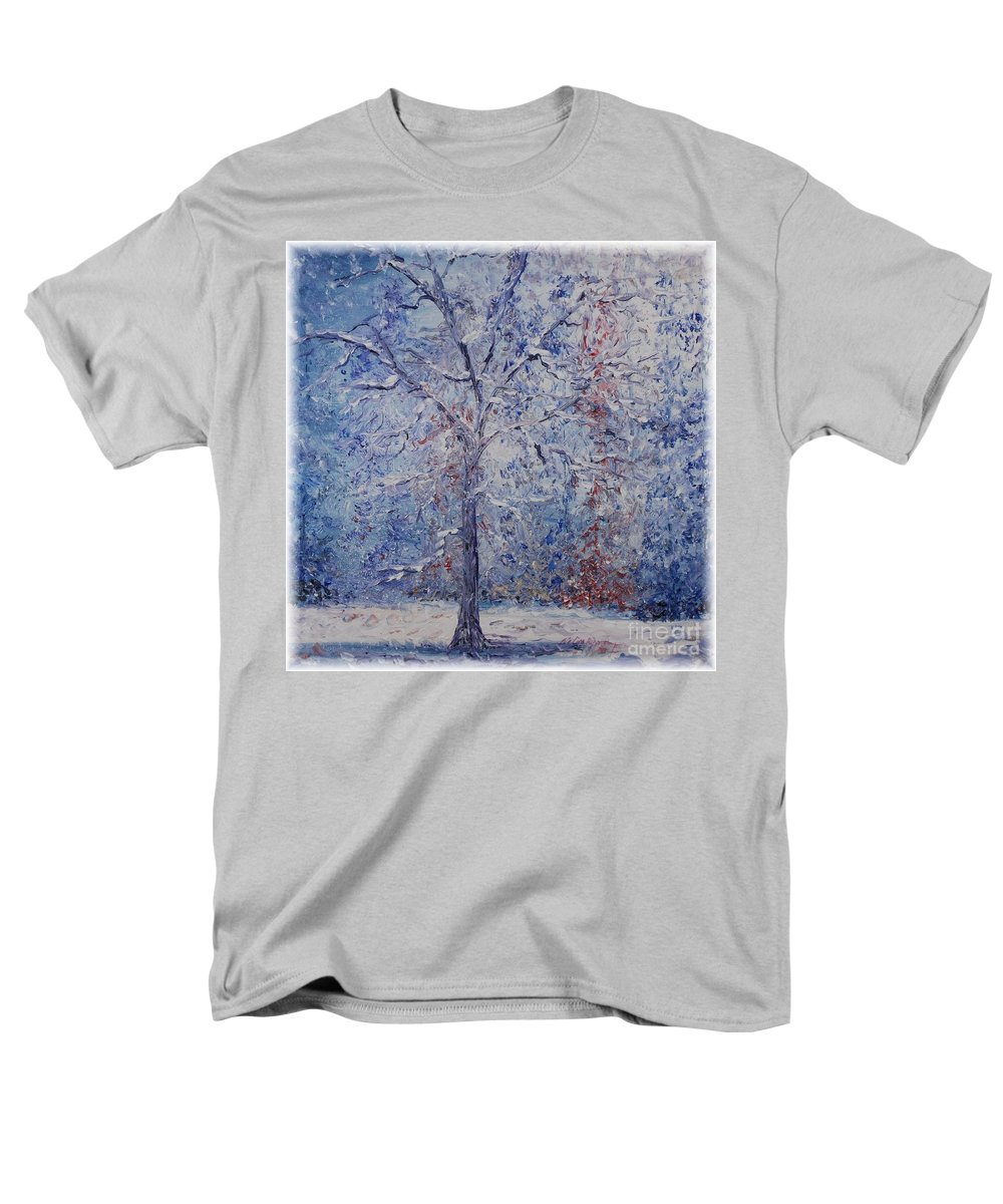 Winter Men's T-Shirt (Regular Fit) featuring the painting Winter Trees by Nadine Rippelmeyer