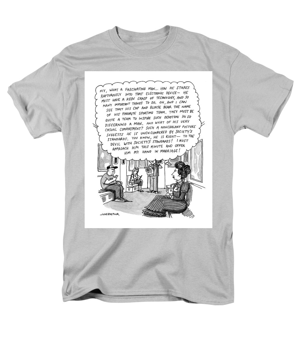 Elizabethan Men s T-Shirt (Regular Fit) featuring the drawing Woman On The  Subway bc5f0d1f1e4
