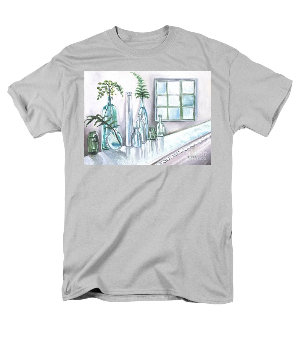 Glass Men's T-Shirt (Regular Fit) featuring the painting Glass and Ferns by Elizabeth Robinette Tyndall