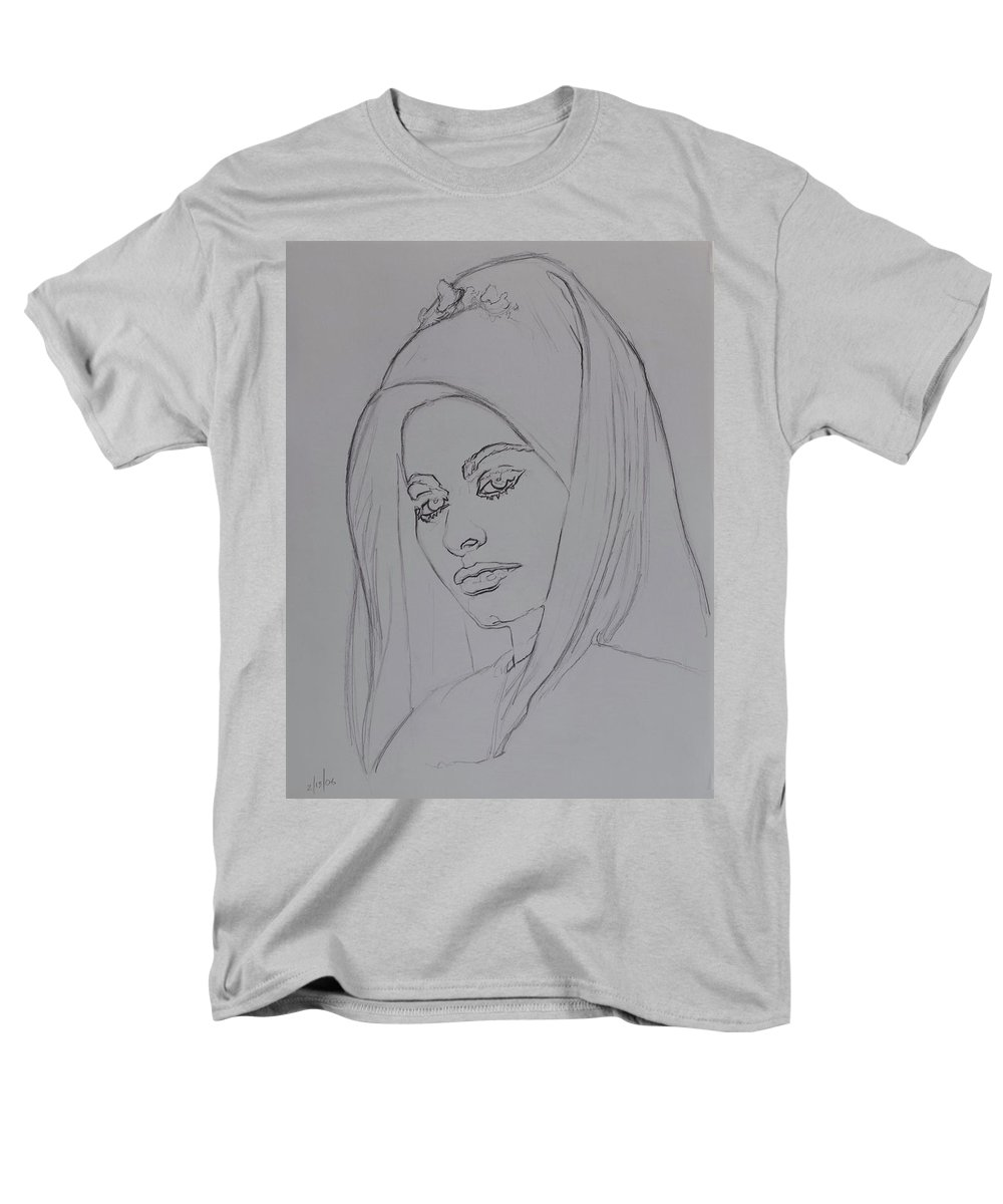 Woman Men's T-Shirt (Regular Fit) featuring the drawing Sophia Loren In Headdress by Sean Connolly