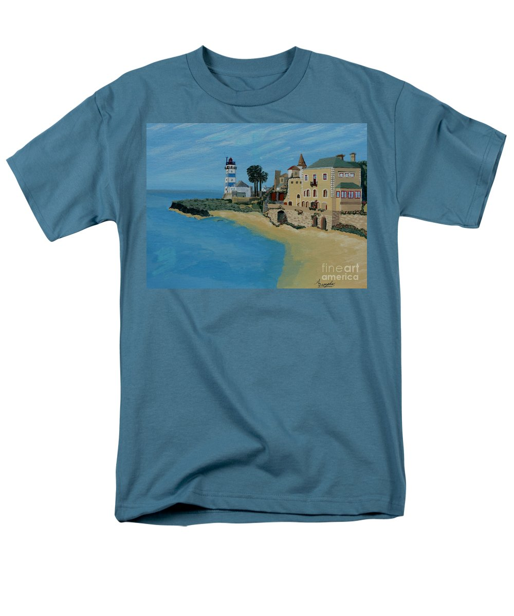 Lighthouse Men's T-Shirt (Regular Fit) featuring the painting European Lighthouse by Anthony Dunphy