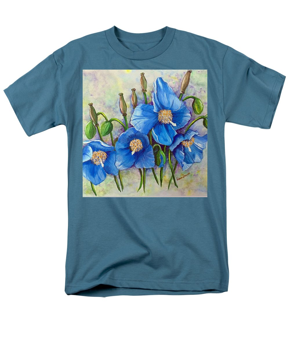 Blue Hymalayan Poppy Men's T-Shirt (Regular Fit) featuring the painting Meconopsis  Himalayan Blue Poppy by Karin Dawn Kelshall- Best