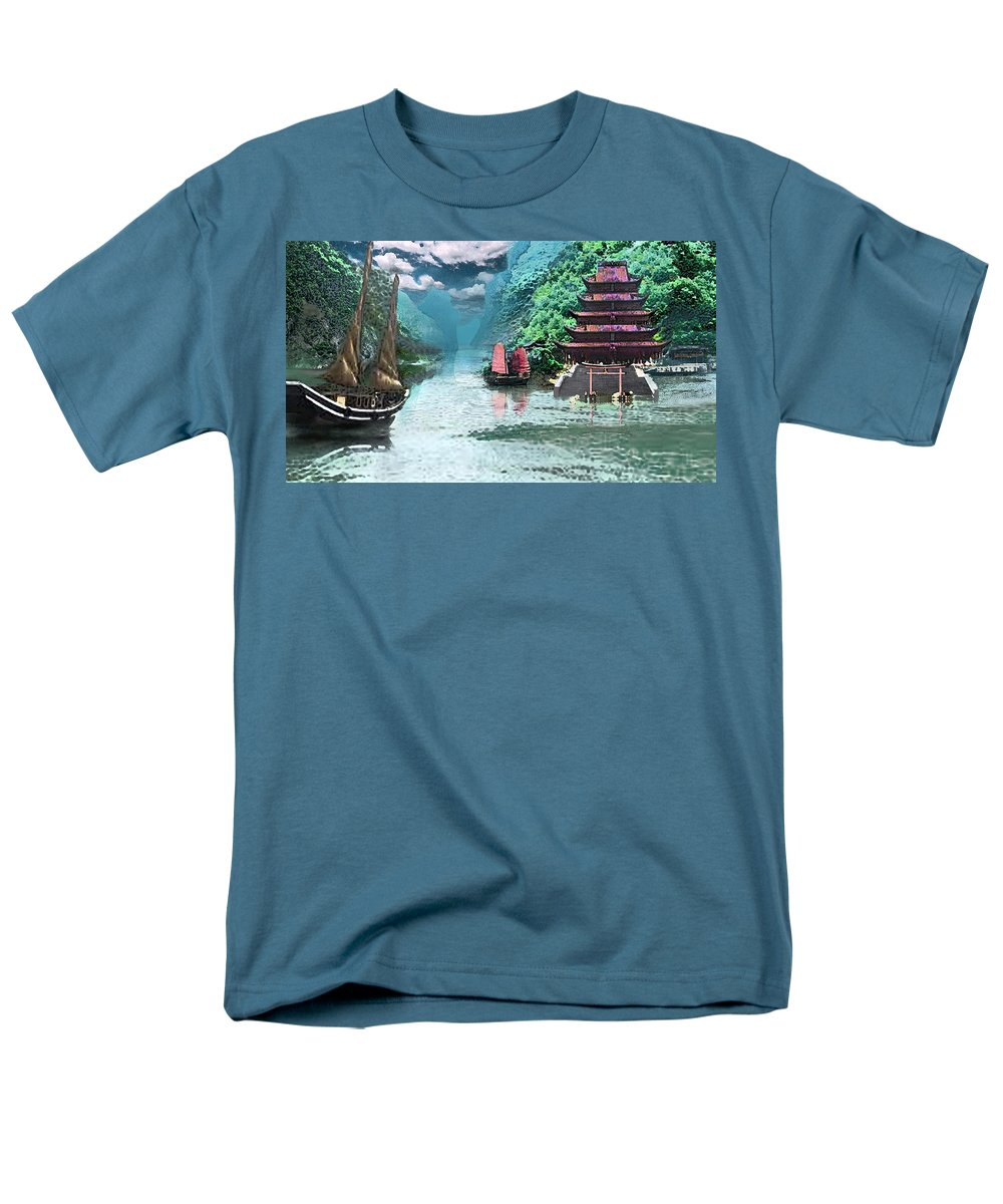 Landscape Men's T-Shirt (Regular Fit) featuring the digital art Temple on the Yangzte by Steve Karol