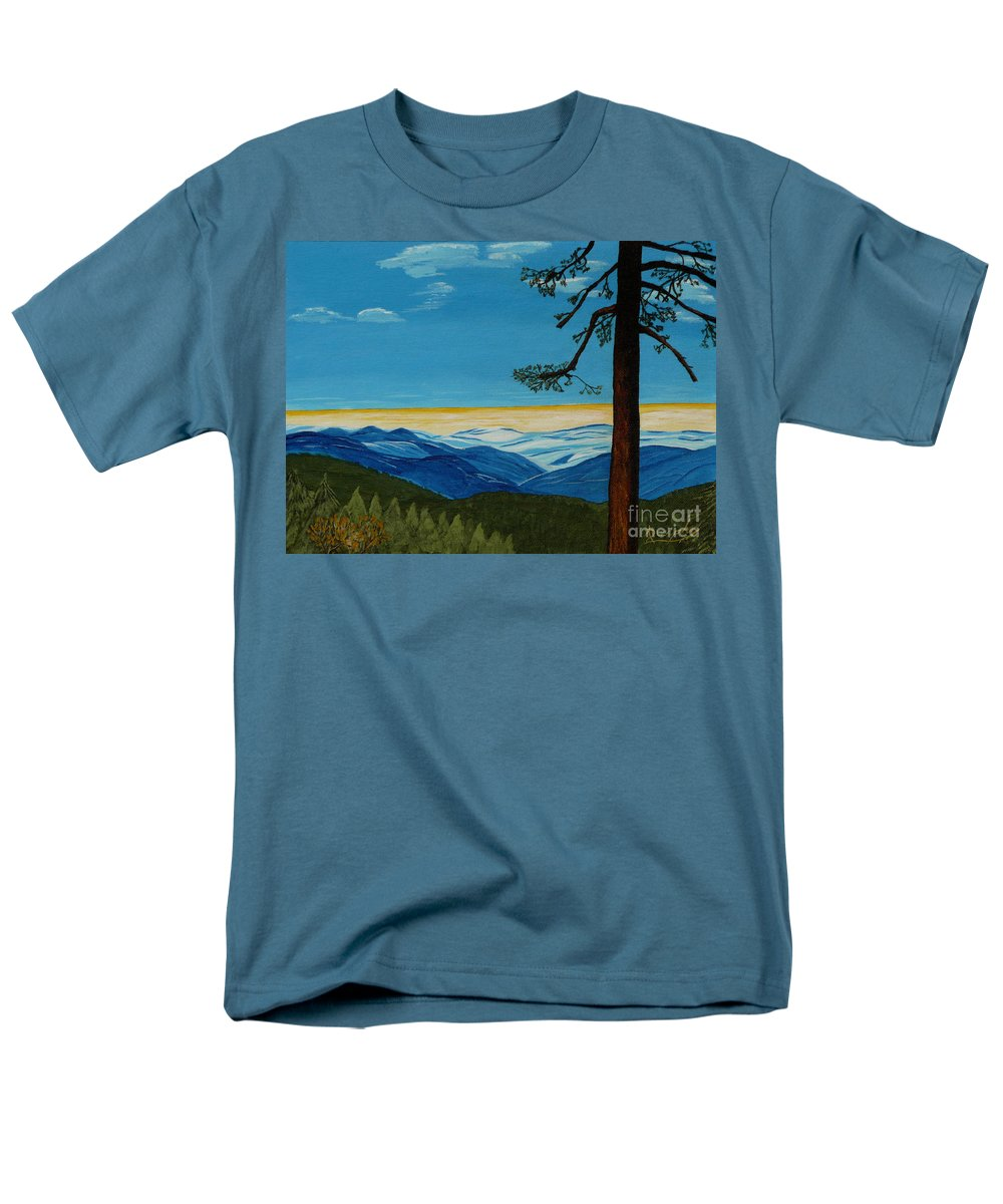 Mountain Men's T-Shirt (Regular Fit) featuring the painting Tranquil Solitude by Anthony Dunphy