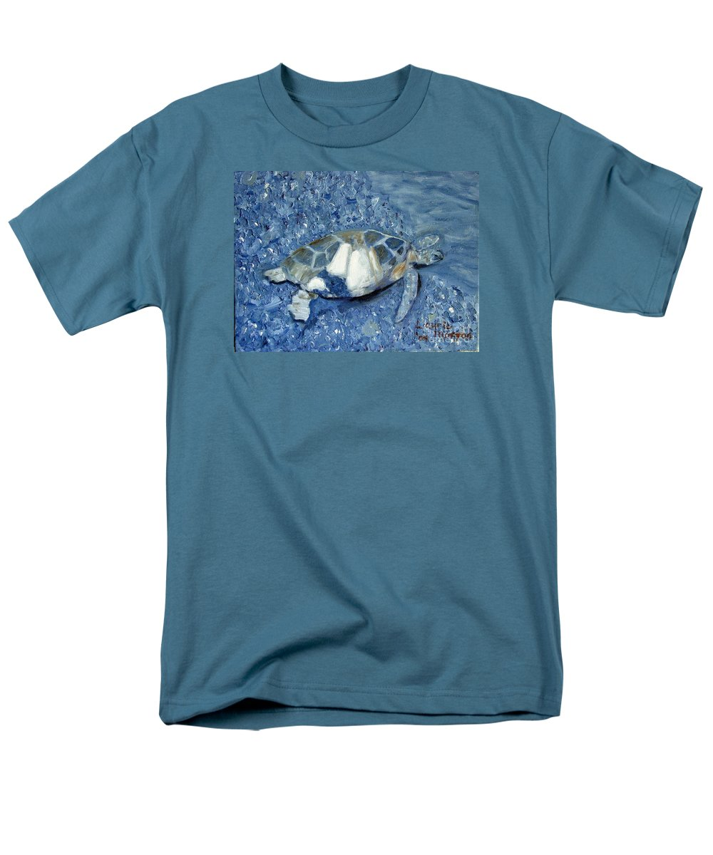 Turtle Men's T-Shirt (Regular Fit) featuring the painting Turtle on Black Sand Beach by Laurie Morgan